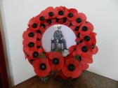 A wreath laid in memory of Private Eddie Bailey at the Remembrance Day Service at the Methodist Chapel, in Main Street, Pymoor 2012.