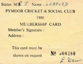 Pymoor Cricket & Social Club Membership Card.