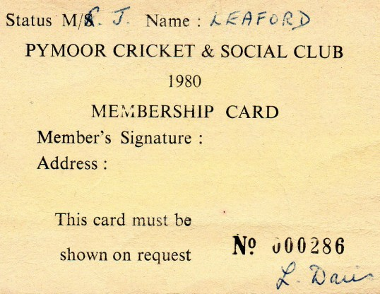 Pymoor Cricket & Social Club Membership Card.