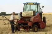 Tony Rudderham baling hay in Oxlode, Pymoor.