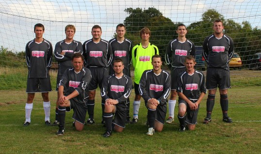 Pymoor FC pose for a photograph before their first home match in the County League Division BIS 2B. They were promoted the previous season.