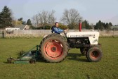 Tony Ure preparing the Pymoor football pitch for a match 2007.