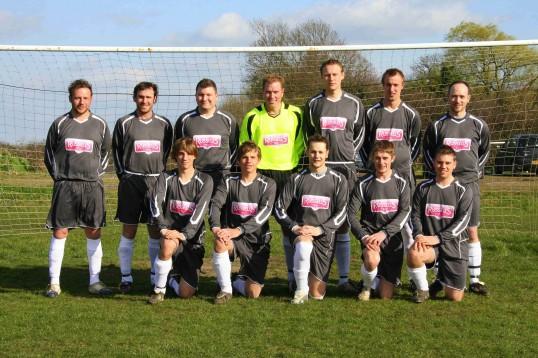 Pymoor FC wearing their new football kit 2007.