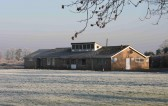 Pymoor Cricket Club under a light dusting of snow, Christmas Eve 2006.