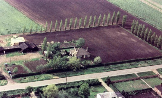 Aerial photograph of Straight Furlong, Pymoor, 1965.