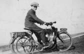 Albert Bartle Jnr on a motorbike on 100 Hundred Foot Bank, Oxlode, Pymoor, circa 1925.