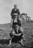 Albert Bartle with Cyril & Reg Rogers on the 100 Foot Bank, Oxlode, Pymoor.. Three Men