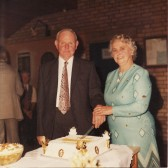 Sidney Edward & Nelly May Dewsbury (nee Wiseman)'s Golden Wedding celebrations in the Pymoor Social Club, 1975