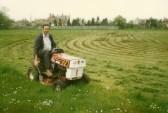 Trevor Hodgson cutting the grass at the Pymoor Cricket Club, 1986.