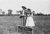 Roger Sulman and Pauline Saberton, fancy dress prize winners in the 1946 Victory celebrations in Pymoor.. fancy dress