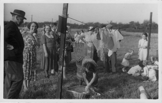 Joan & Vera Saberton with Annie Miller in Pymoor 1951.