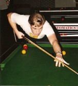 Shaun Butcher in the Children in Need 24 Hour Pool Marathon in the Pymoor Social Club 1991.