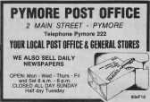 An Ely Standard advertisement for the Pymoor Post Office.(Note the spelling of Pymore).