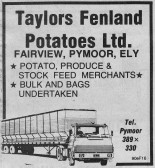 An Ely Standard advertisement for Taylors Fenland Potatoes Ltd.