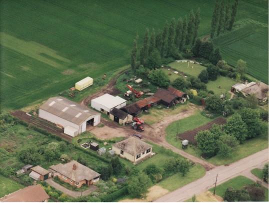 Aerial view of Poplar Tree Farm, Straight Furlong, Pymoor, 1994.