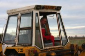 Richard Golding in the cab of his JCB digs for the Pymoor Bog Oak, 2007.