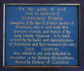 Plaque dedicated to Constance Fisher who built the Mission Church School of Holy Trinity Pymoor.
