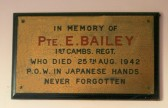 Plaque in the Pymoor Methdist Chapel in memory of Pte. E. Bailey, 1st Cambs Regt. who died 25th August 1942.