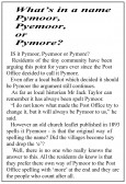 An article, written by Sarah Groom, about the spelling of the village name of Pymoor which appeared in the Ely Standard on 16th February 1984.