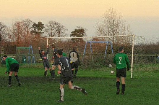 Jason Cridford celebrates his goal during Pymoor's 7 - 1 win against Lode at the Pymoor Sports Club, 2011.