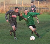 Pymoor FC Player/Manager Tony Ure in action during his teams 7 - 1 victory over Lode at the Pymoor Sports Ground 2007.