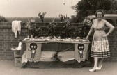 Joan Saberton with a stall at a Church Fete in theSchool Playground in Pymoor.. Church Fete