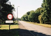 A view of Straight Furlong, Pymoor, going towards the village centre from the direction of Pymoor Sidings.