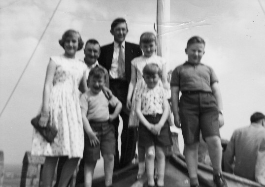 Les and Wesley Butcher and family enjoy the view from the top of Ely Cathedral, 1957.