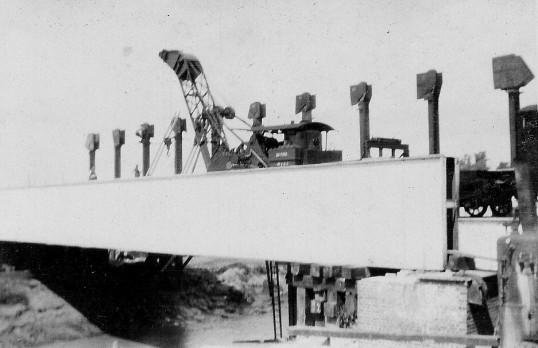 Railway bridge being built at 100ft Bank, Pymoor,