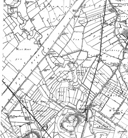 Map showing the position of Pymoor (Pyemore) in 1823.