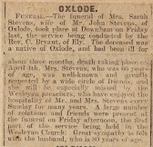 Newspaper cutting reporting on the Funeral of Mrs Sarah Stevens of Oxlode, Pymoor.