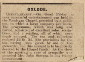 Newspaper cutting reporting on entertainment held on Good Friday  at the Wesleyan Chapel, Oxlode, Pymoor.