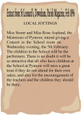 Extract from the Parish Magazine about a Concert at Pymoor School.