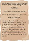 Extracts from St. Leonard's, Downham, Parish Magazine about Pymoor's Harvest Festival and a Burial Notice for James Dewey 1897.