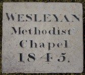 The foundation stone from the Wesleyan Methodist's Chapel, Oxlode, Pymoor, 1845.