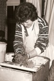 Betty Heaps at the 'Potters Wheel' in the Pymoor WI Hall. 1978