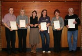 A group of Line Dancers with their Bronze Medal Certificates at the Pymoor Social Club 2008.