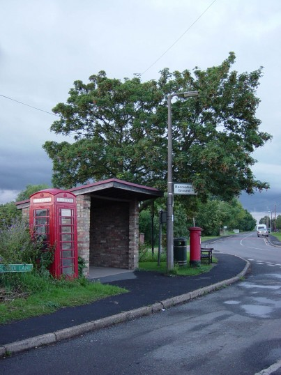 The Bus shelter seen from School Lane looking towards Straight Furlong, Pymoor.. The Bus Shelter