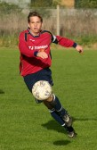 David Harvey playing for Pymoor FC v Lakenheath. David was a prolific scorer of goals for Pymoor this season, 2006.