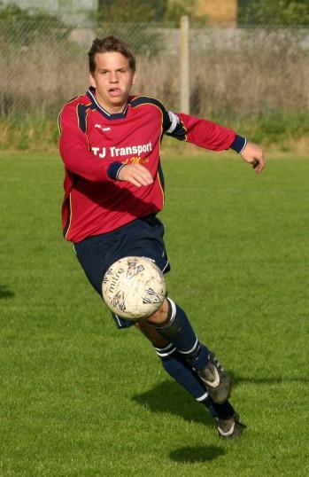 David Harvey playing for Pymoor FC v Lakenheath. David was a prolific scorer of goals for Pymoor this season, 2006.