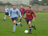 Ed Hale in full flight playing for Pymoor FC against Brampton at the Pymoor Sports Club, 2006.