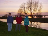 Rosemary Davis, Bill Dennis and Inger van Ogtrop enjoy the beautiful sunset over the washes at Oxlode, Pymoor 2007.