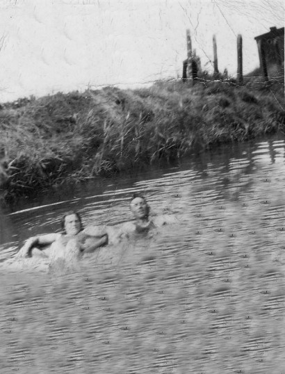 Jack and Caroline Taylor enjoying a swim in Pymoor, circa 1930.