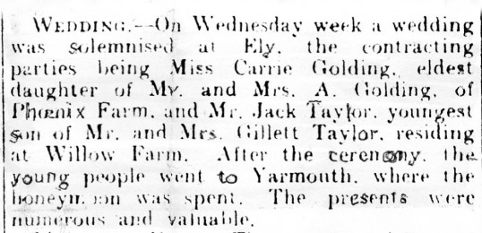 Newspaper cutting, reporting the wedding of Carrie Golding to Jack Taylor, both of Pymoor.