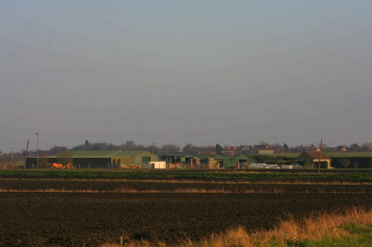 Baz Taylor's Willow Farm and Yard on Westmoor Common, Pymoor, seen from Adventurers Drove.