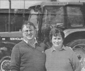 Roger and Cynthia Parson outside their farm in main Drove, Pymoor. This photo appeared in the Cambridge News, 2000.