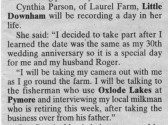 Cutting from the Cambridge News about Cynthia Parson of Laurel Farm, Main Drove, Pymoor.. One Day in May