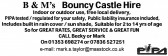 An advertisement taken from the Parish Magazine for B & M's Bouncy Castle Hire run by Pymoor residents, Becky and MarK Taylor.