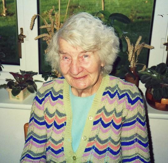 Annie Lark of Pymoor on Christmas Day 1989.