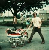 Graham Lark at Pymoor Hill ,on the way to the Pymoor School Garden Fete 1976.
